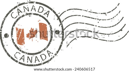 Postal grunge stamp 'Canada'' - stock vector
