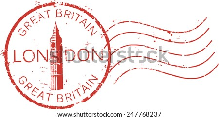 Postal grunge stamp 'London - Great Britain' with the 'Big Ben' tower - stock vector