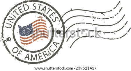 Postal grunge stamp 'United states of America' - stock vector