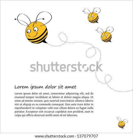 Postcard design with funny bees smiling, swirls and place for text. Square format. Can be used as a greetings card, book page or other. - stock vector