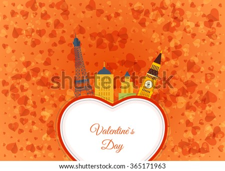 Postcard drawing the Eiffel Tower on the background of the heart. Vintage heart and ribbon Valentines day vector illustration. Valentines Day gift card. Invitation card for wedding. - stock vector