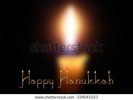 Postcard for congratulations with Festival of Lights, Feast of Dedication Hanukkah. Blurred candle on black. Vector illustration - stock vector