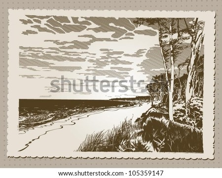 Postcard in vintage style with views of sandy beach on a sunny day, vector illustration - stock vector