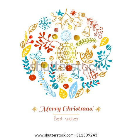 Postcard Merry Christmas. Congratulations on Christmas and New Year on a white background in the style of hand-drawing - stock vector