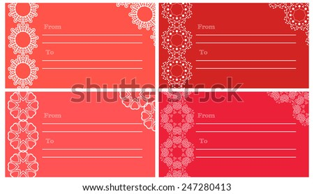 Postcard or invitation templates set with lace decor elements. Can be used as present tag. Vector illustration. - stock vector