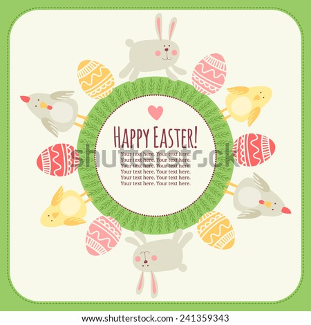 Postcard template. Happy Easter! - stock vector