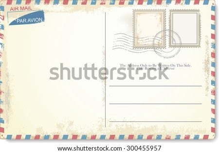 Postcard vector in air mail style - stock vector