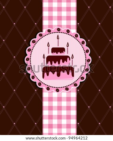Postcard with cake - stock vector