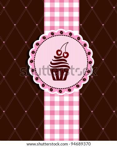 Postcard with cupcake - stock vector