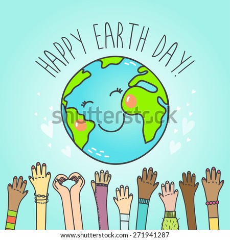 Postcard with cute cartoon Earth globe and hands of people of different nationalities . Vector illustration. - stock vector