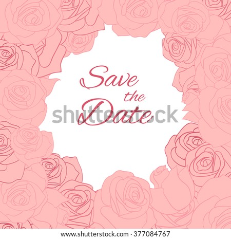 Postcard with pink delicate roses and place for text. Vector element for invitations, brochures, greeting cards, and your design - stock vector