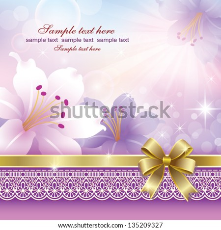 postcard with pink flower - stock vector