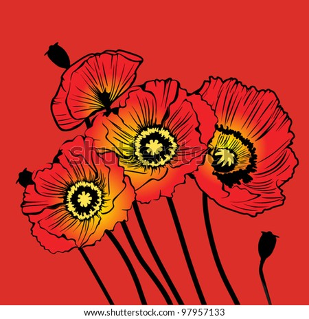 postcard with red poppies on a red background - stock vector