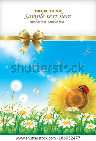 postcard with sunflower - stock vector