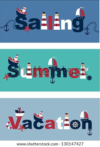 postcards from vacation at sea - stock vector