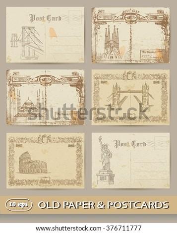 Postcards. Vintage set - stock vector
