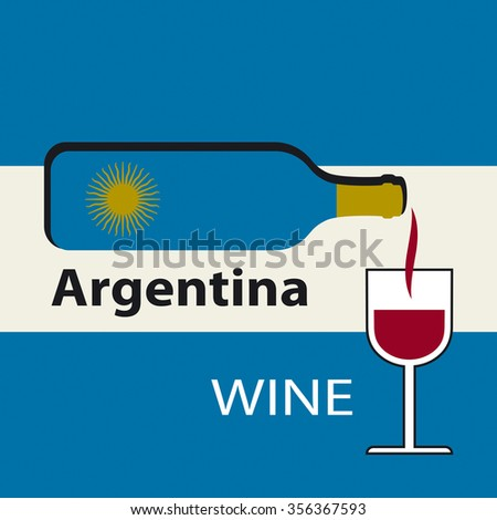 Poster Argentina wine on the background of the flag. A bottle of wine with a wineglass - stock vector