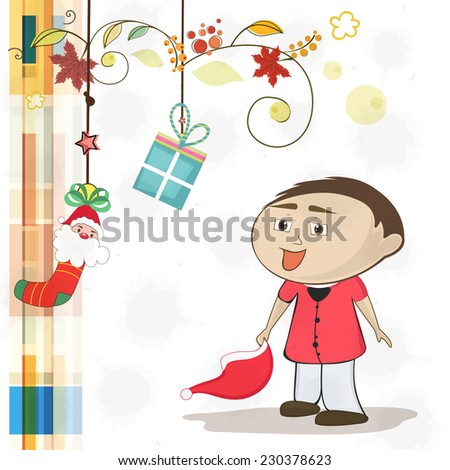 Poster, banner or greeting card design for Merry Christmas with cute little boy holding Santa hat and hanging gifts on floral decorated background. - stock vector