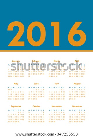 Poster Calendar for 2016. Annual planner for year 2016. Week Starts Monday. Simple Vector Template, - stock vector