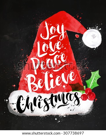 Poster Christmas Santa hat lettering joy, love, peace, believe, Christmas drawing in vintage style on kraft paper - stock vector