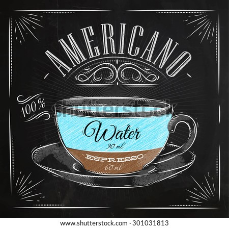 Poster coffee americano in vintage style drawing with chalk on the blackboard - stock vector