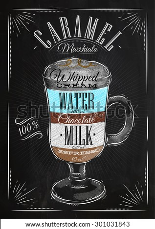 Poster coffee caramel macchiato in vintage style drawing with chalk on the blackboard - stock vector