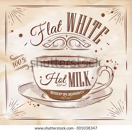 Poster coffee flat white in vintage style drawing on kraft - stock vector