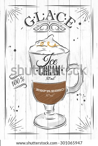 Poster coffee glace in vintage style drawing on wood background - stock vector