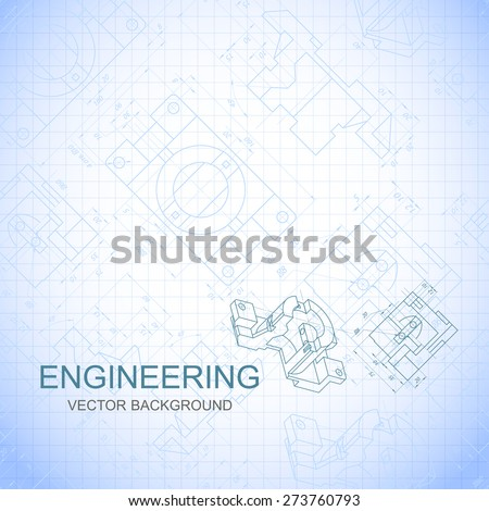 Poster, cover, banner, background of engineering drawings of parts. Notebook sheet. Vector illustration - stock vector