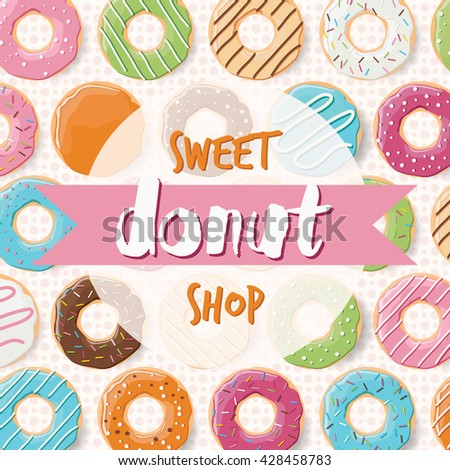 Poster design with colorful glossy tasty donuts for a donut shop, vector illustration - stock vector