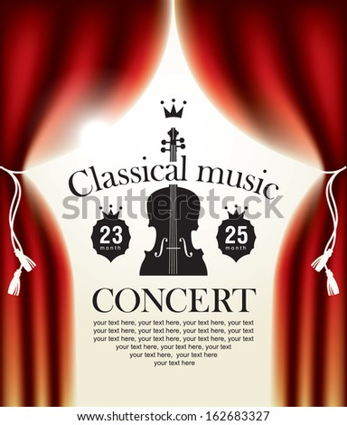 poster for a concert of classical music with a stage and backstage - stock vector