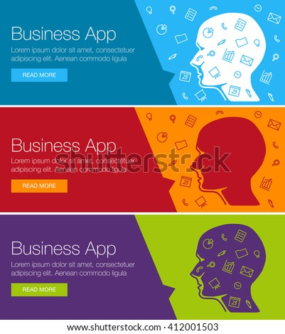 Poster for online course, training, workshop. Banner for web site advertising of business training. Set of vector ribbon banners. Human head with set of icons bubble talk. Linear icon design ideas - stock vector