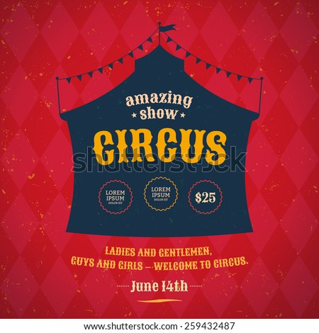 Poster for the circus. Silhouette circus tent. Vector - stock vector