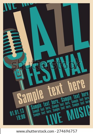 Poster for the jazz festival with a retro microphone - stock vector