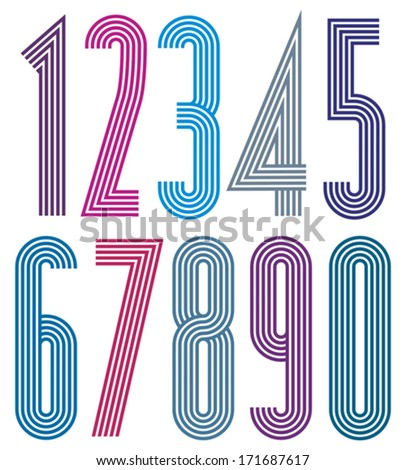 Poster geometric bright decorative striped numbers. - stock vector