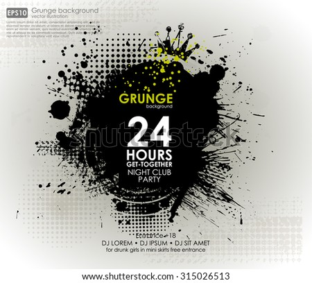 Poster Grunge background vector. Grunge print for t-shirt. Abstract dirt backgrounds texture. Grunge banner with an inky dribble strip with copy space. Abstract background for party - stock vector