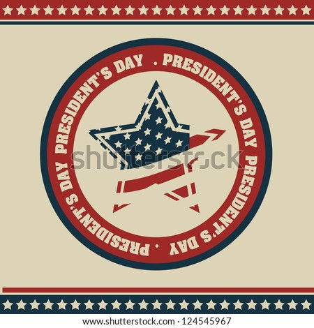 Poster illustration of President's Day in the United States of America in vintage style, vector illustration - stock vector