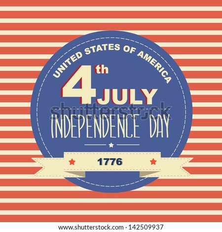 Poster 4 July Independence Day.Typography.Vector illustration. - stock vector