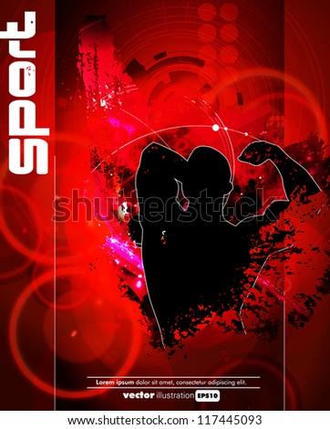 Poster of bodybuilding. Vector illustration - stock vector