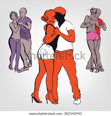 Poster of social dance. Night kizomba, bachata, salsa party. Three dancing couple. - stock vector