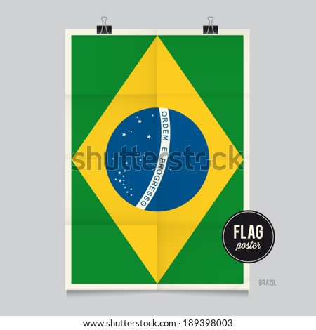 Poster of the Brazil flag. Vintage folds and shadows effects are editable thanks to different layers. - stock vector