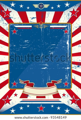 Poster of US army. A large empty frame with a grunge texture for your message - stock vector