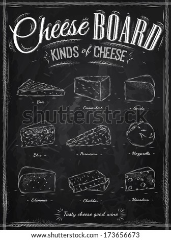 Poster set of cheese with different types of cheeses: parmesan, mozzarella, brie, camembert, gouda, maasdam, cheddar, called cheeseboard in retro style stylized drawing with chalk. Vector.  - stock vector
