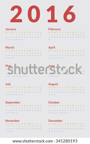 Poster Size Calendar for 2016. Week Starts Monday. Simple Vector Template - stock vector