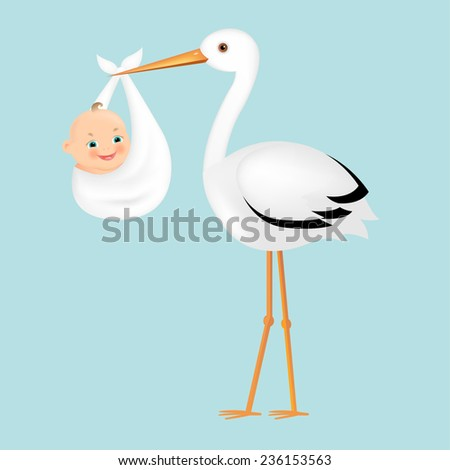 Poster Stork With Baby With Gradient Mesh, Vector Illustration - stock vector