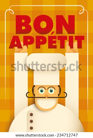 Poster with a comic chef. Vector illustration. - stock vector
