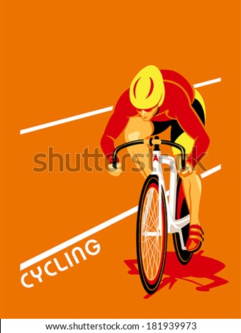 Poster with a track cyclist at the competition - stock vector