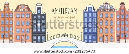 Poster with Amsterdam, Holland (Netherlands). Cityscape with bridge, bicycle and houses. Can be used as a post card. The City You Won't Forget - stock vector