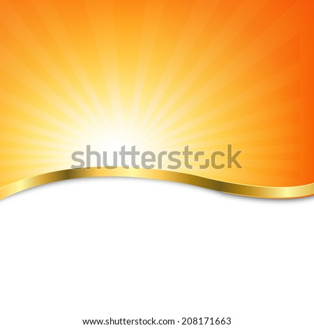 Poster With Beams, With Gradient Mesh, Vector Illustration - stock vector