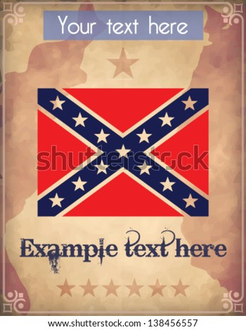 Poster with confederate flag - stock vector